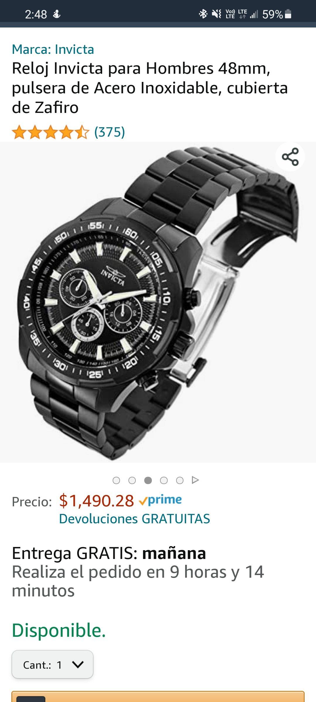 Amazon: Reloj Invicta para Hombres 48mm, pulsera de Acero Inoxidable, cubierta de Zafiro