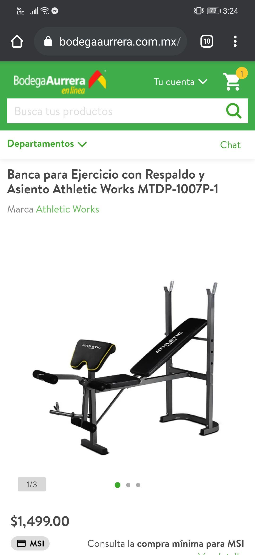 Bodega Aurrerá: Banca para Ejercicio con Respaldo y Asiento Athletic Works MTDP-1007P-1