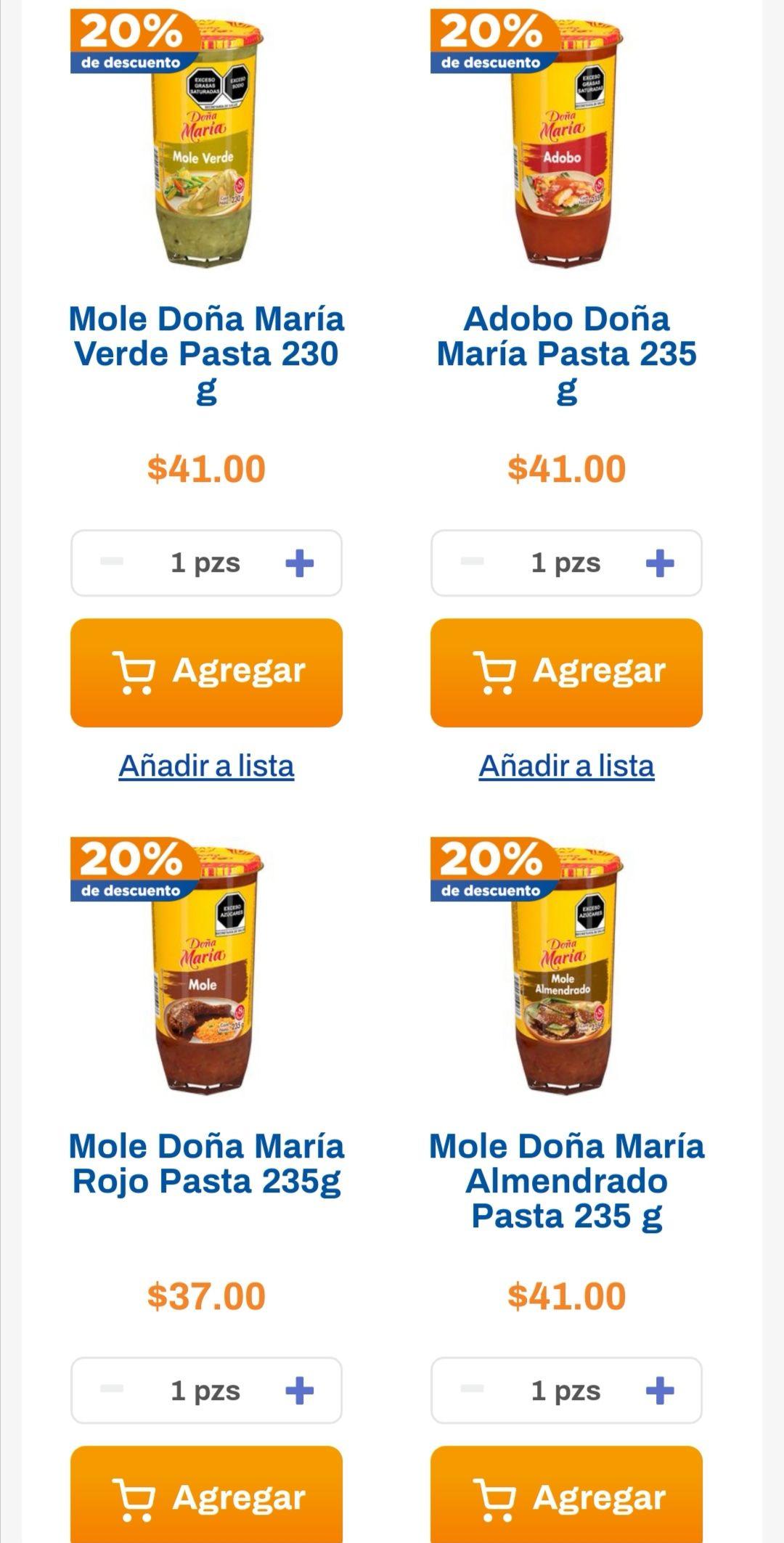Chedraui: 20% de descuento en todo el mole Doña María