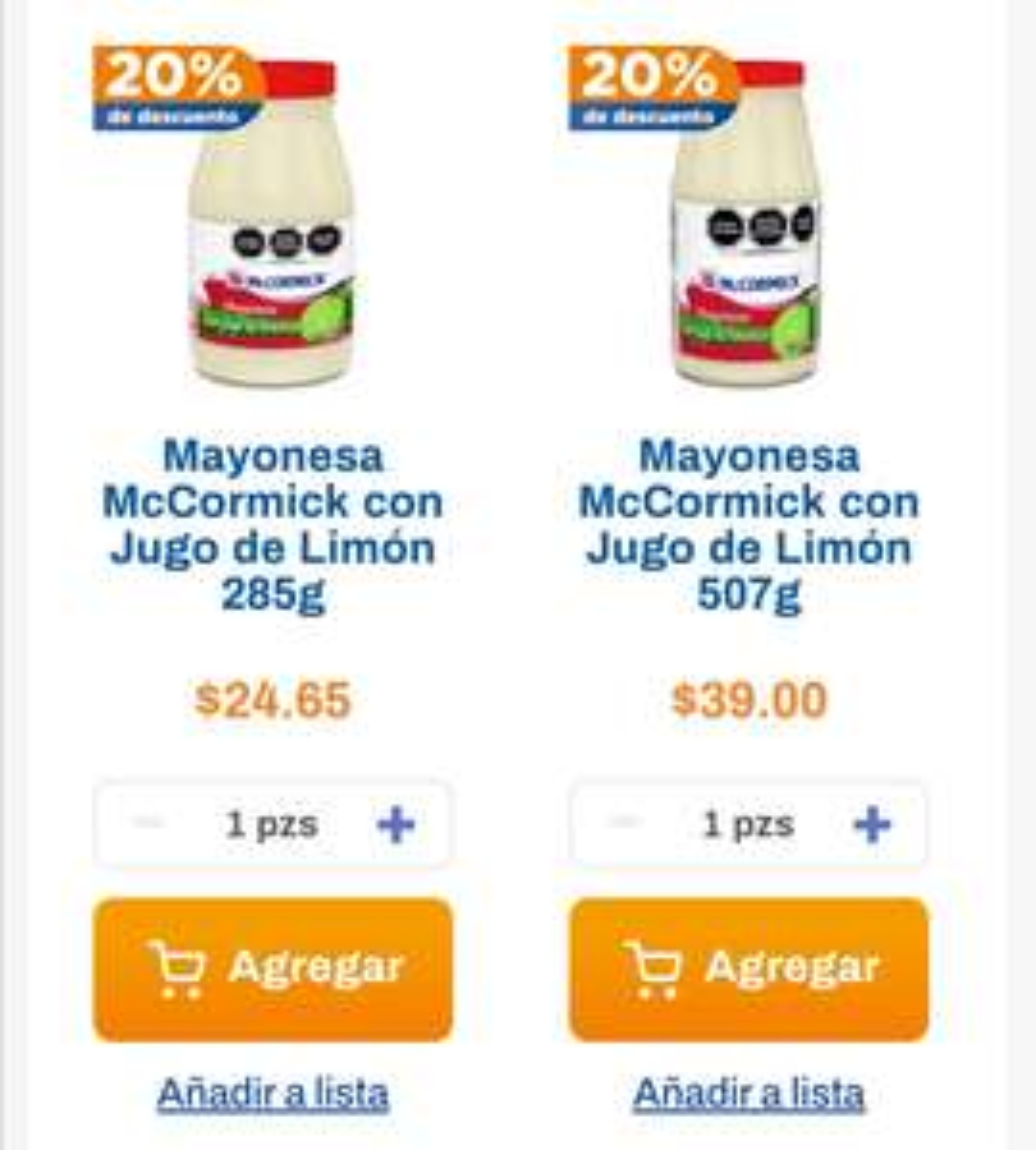 Chedraui: 20% de descuento en mayonesa McCormick con jugo de limón 507 g y 285 g