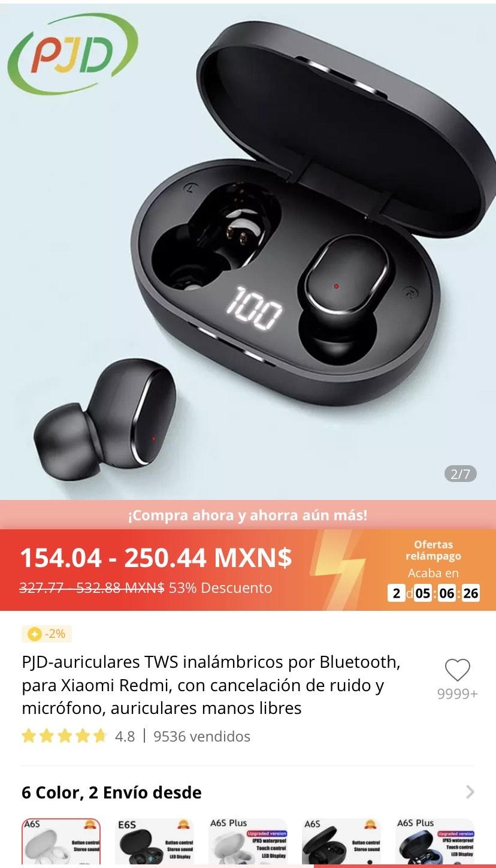 Ali express: audífonos inalámbricos con cancelación de ruido y micrófono