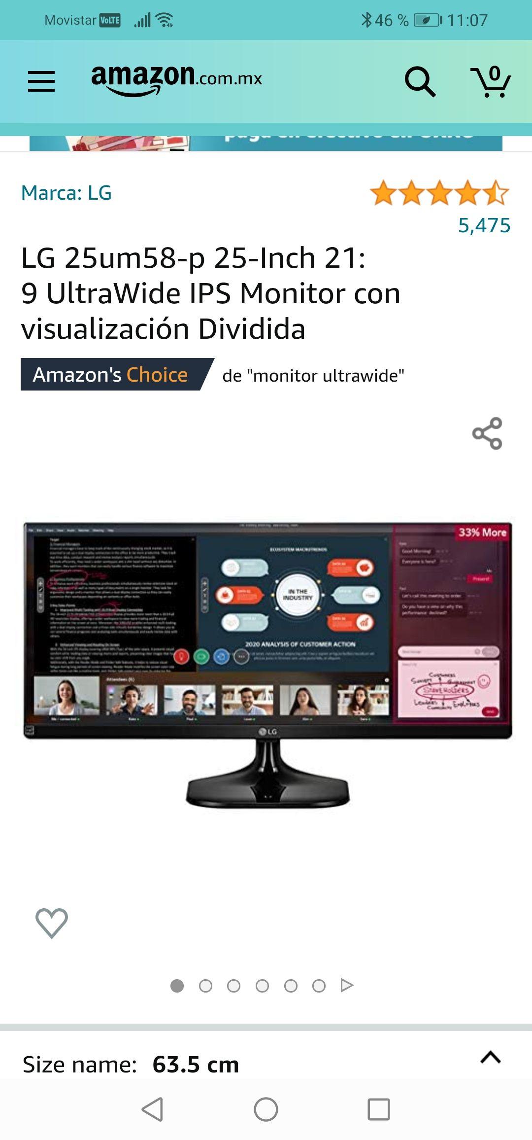 Amazon : LG 25um58-p 25-Inch 21: 9UltraWide IPS Monitor con visualización Dividida