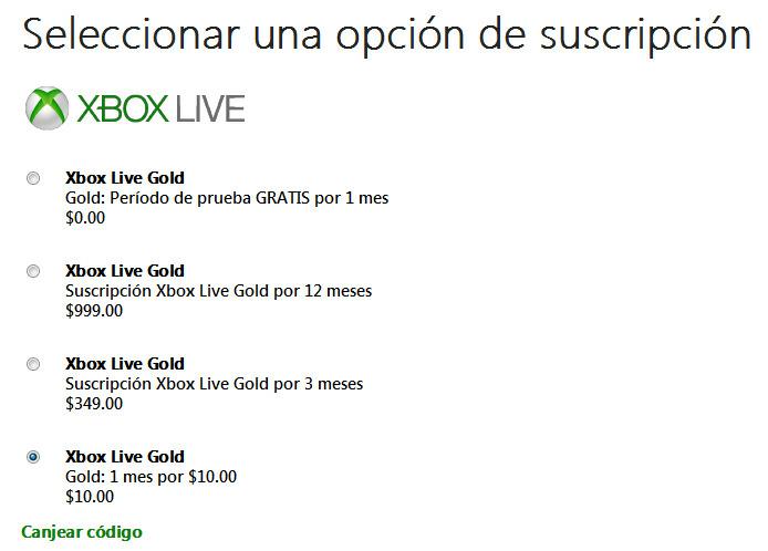 XBOX LIVE GOLD: 1 mes $0 y/o 1 mes por $10 = 2 meses por $10