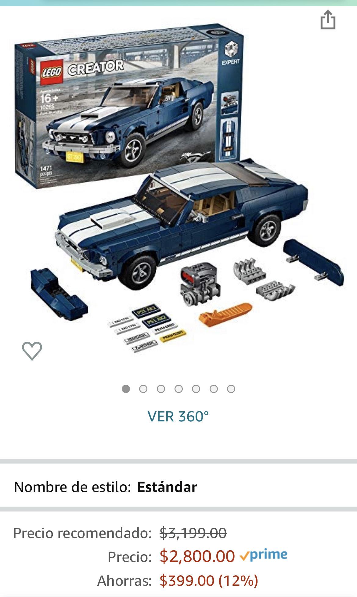 Amazon: LEGO Kit de construcción Creator Expert (1470 Elementos): Ford Mustang (10265)
