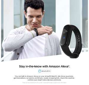 Amazon: Amazfit Band 5 Fitness Tracker con Alexa incorporado, Negro