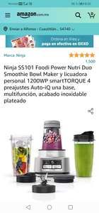 Amazon : Ninja SS101 Foodi Power Nutri Duo Smoothie Bowl Maker y licuadora personal 1200WP smartTORQUE 4 preajustes Auto-iQ una base,
