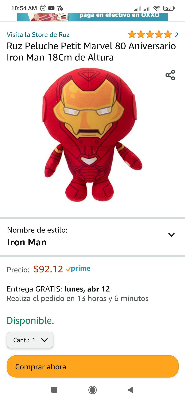 Amazon Peluche Iron man 18 cm Altura