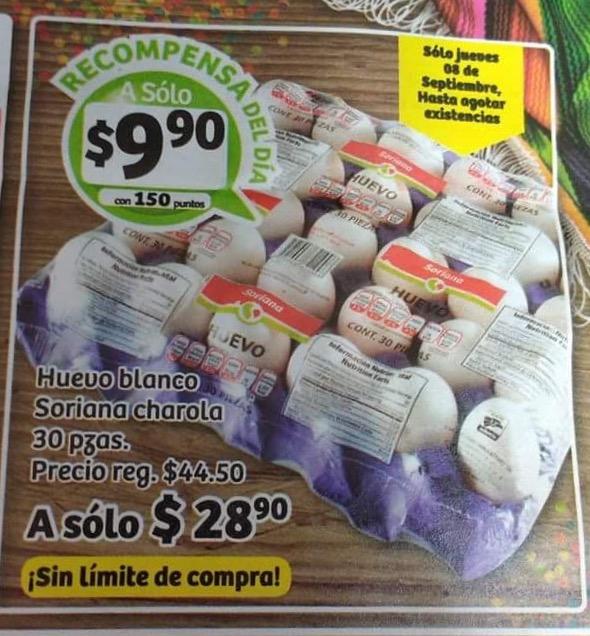 Soriana Hiper y Super, recompensa del Jueves Cartera  de 30 huevos