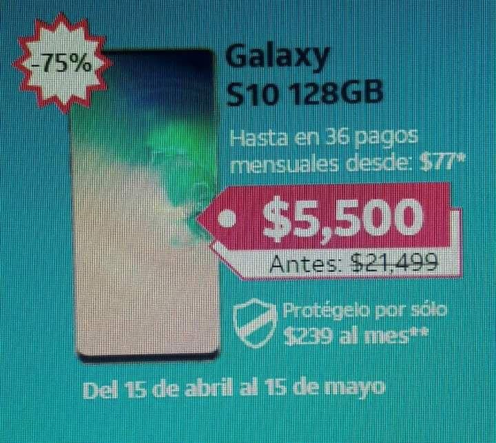 AT&T, SAMSUNG S10 128gb En plan con at&t a 30 meses