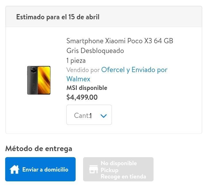 Walmart: Xiaomi Poco X3 64gb pagando BBVA