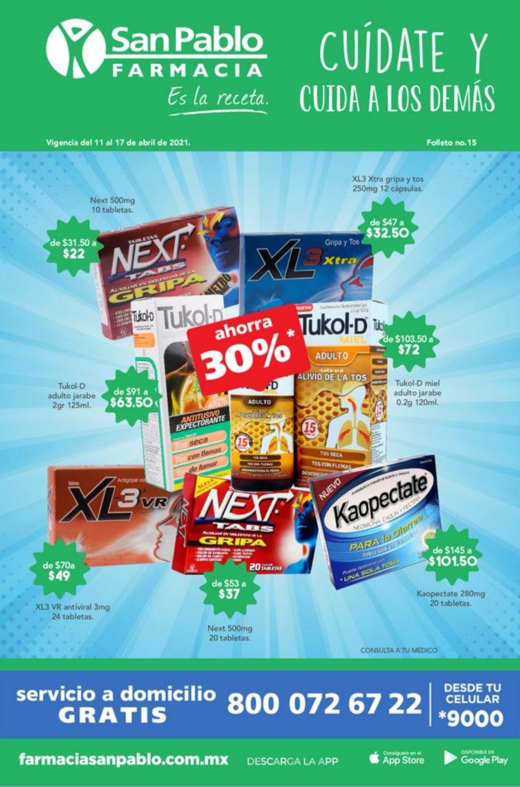 Farmacias San Pablo: Folleto de Ofertas Semanal del Domingo 11 al Sábado 17 de Abril