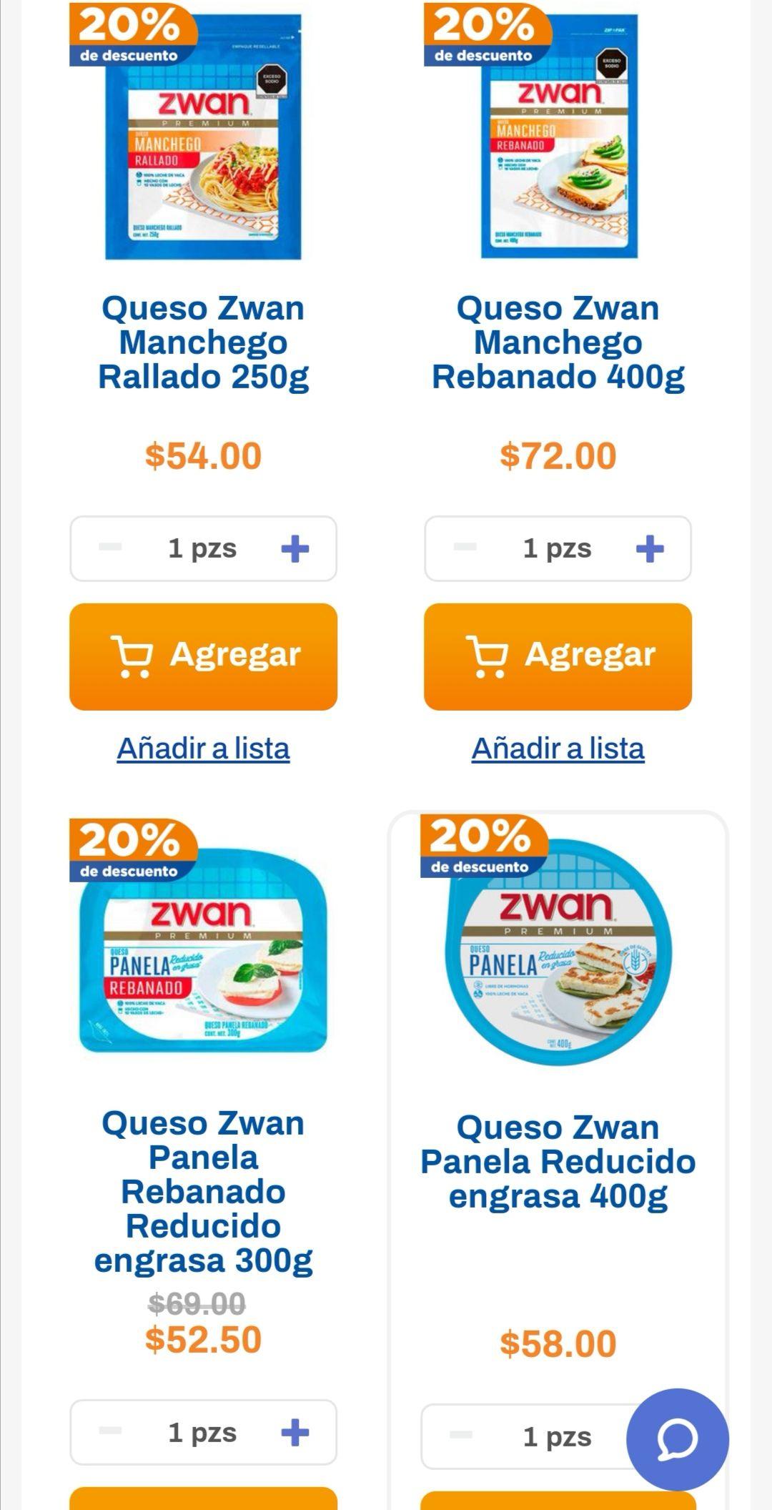 Chedraui: 20% de descuento en la compra a partir de 2 piezas de quesos Zwan empacados