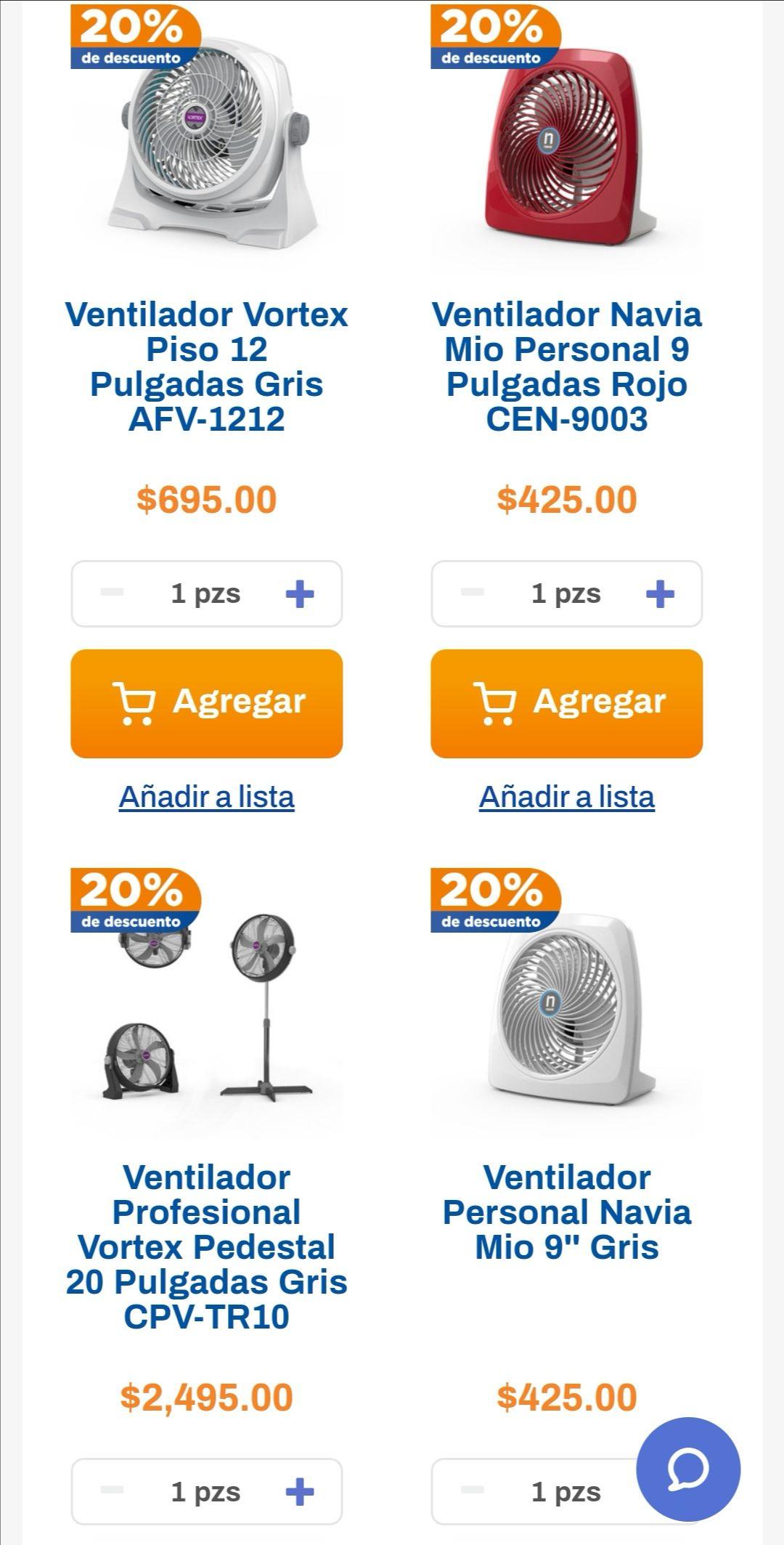 Chedraui: 20% de descuento en ventiladores Navia y Vortex y en ventiladores y humidificadores seleccionados