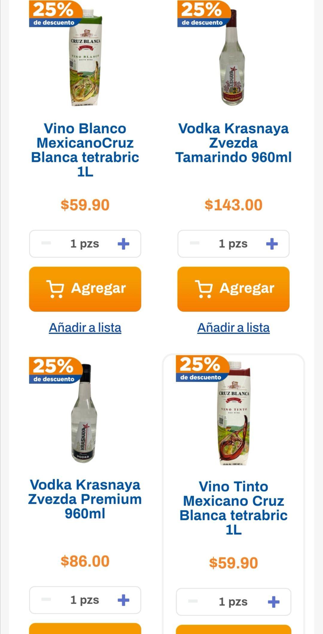 Chedraui: 25% de descuento en Vodka Krasnaya, Jerez Cruz Blanca, Vino Cruz Blanca y Jarabe natural Cruz Blanca