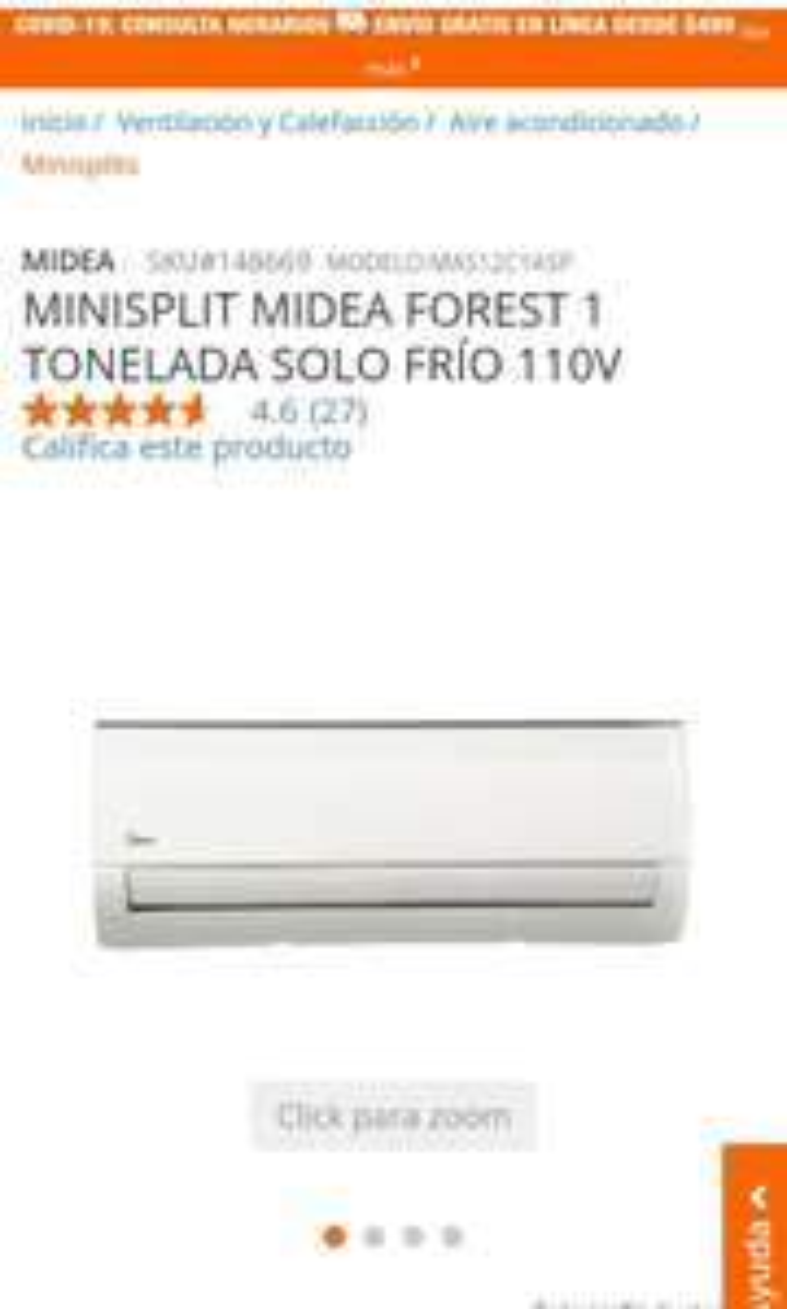 Home Depot Campeche: MINISPLIT MIDEA FOREST 1 TONELADA SOLO FRÍO 110V Para la calors