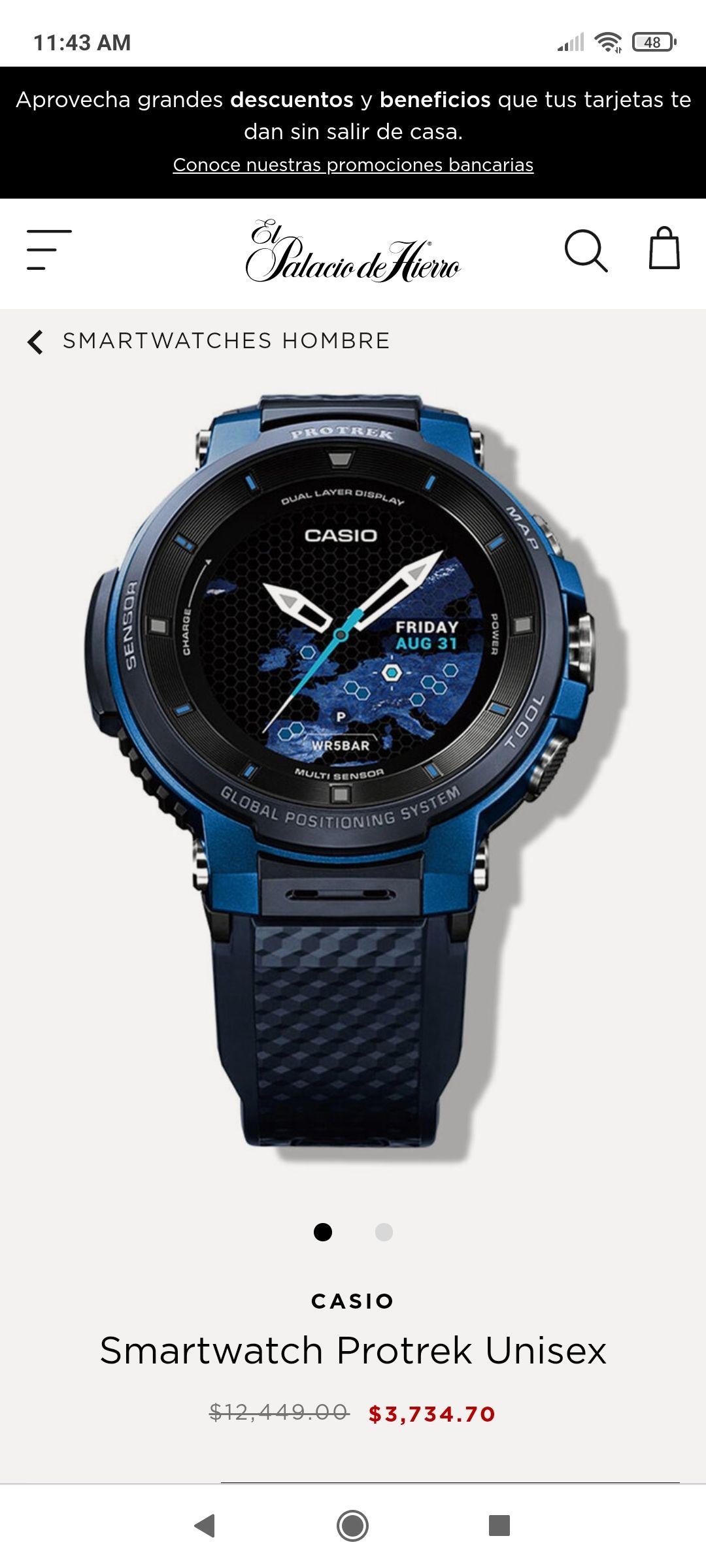 El Palacio de Hierro: Casio Smartwatch Protrek Unisex de 12499 a 3734
