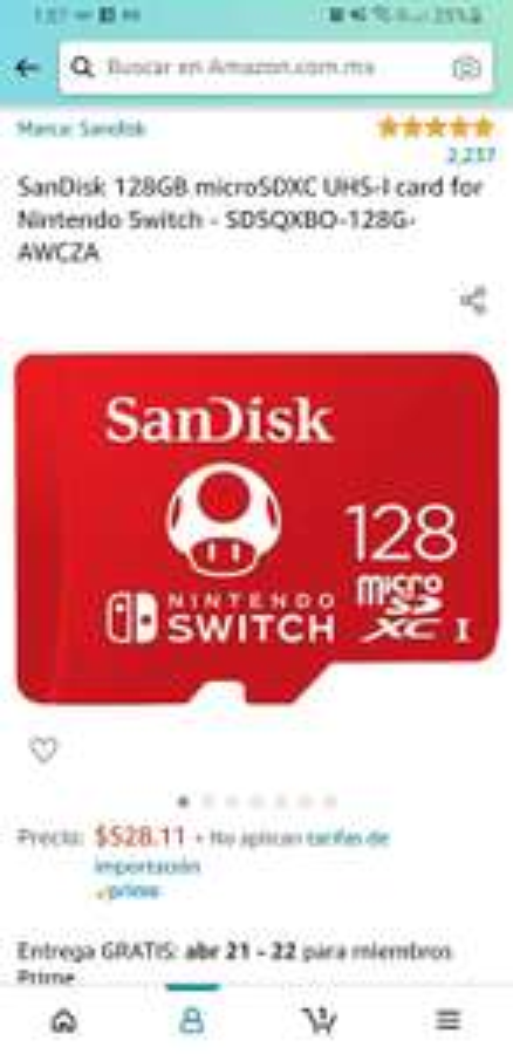 Amazon: Micro SD SanDisk 128GB Nintendo Switch