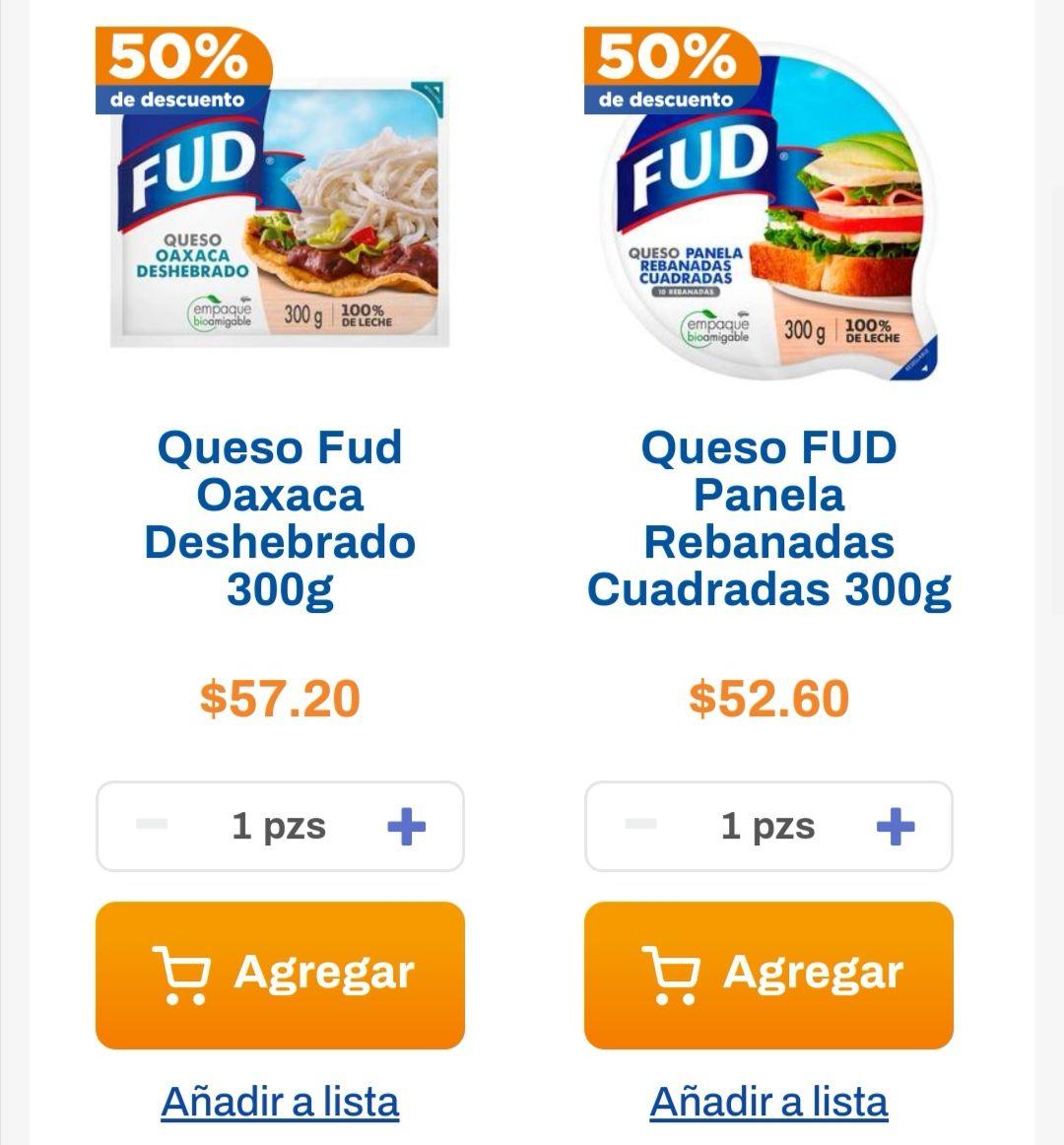 Chedraui: En la compra de un queso panela Fud rebanadas cuadradas 300 g, llévate un 50% de descuento en queso Oaxaca Fud deshebrado 300 g.