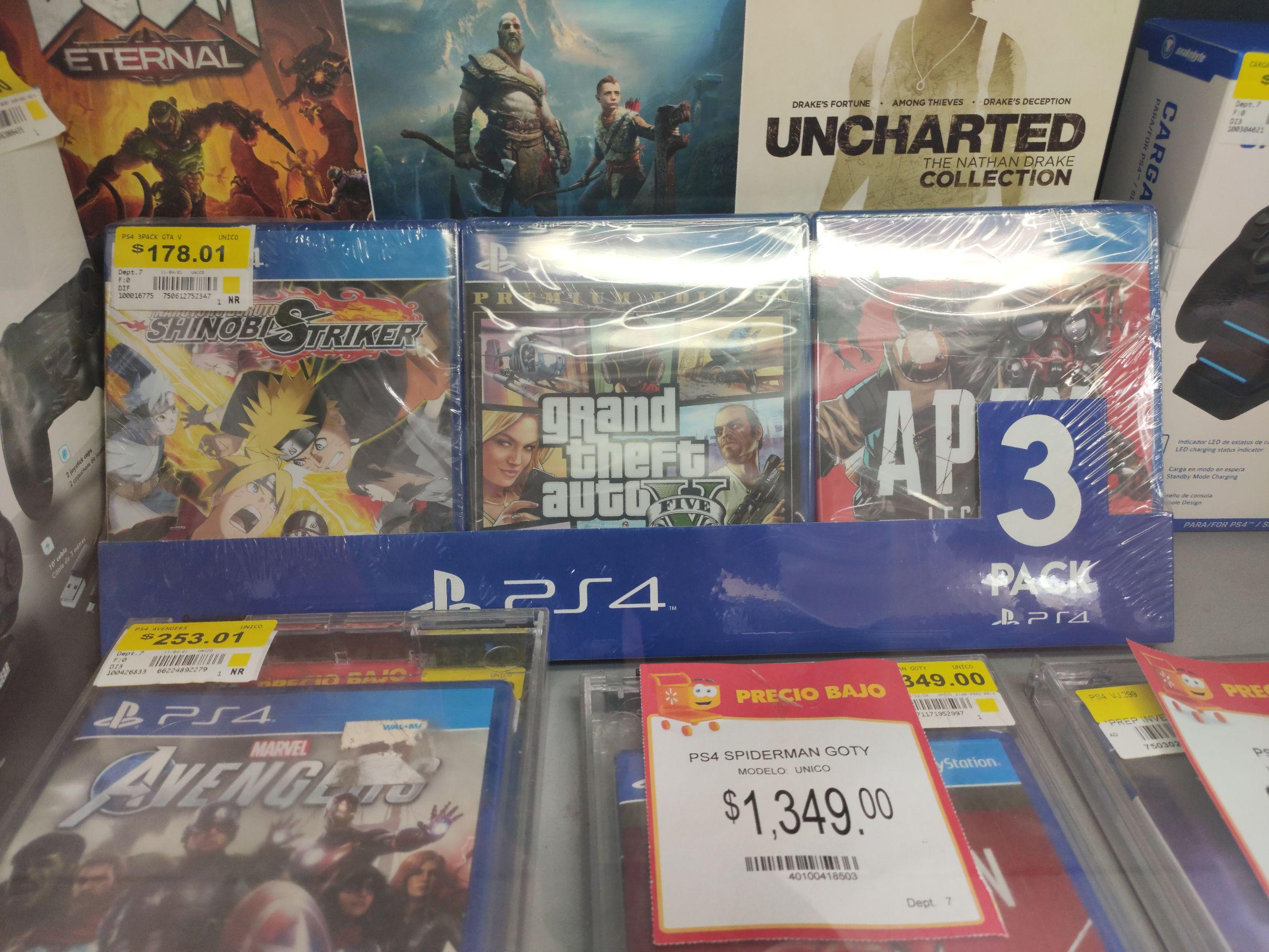 Walmart: Paquete de tres juegos ps4 (GTA V, Naruto, Apex)