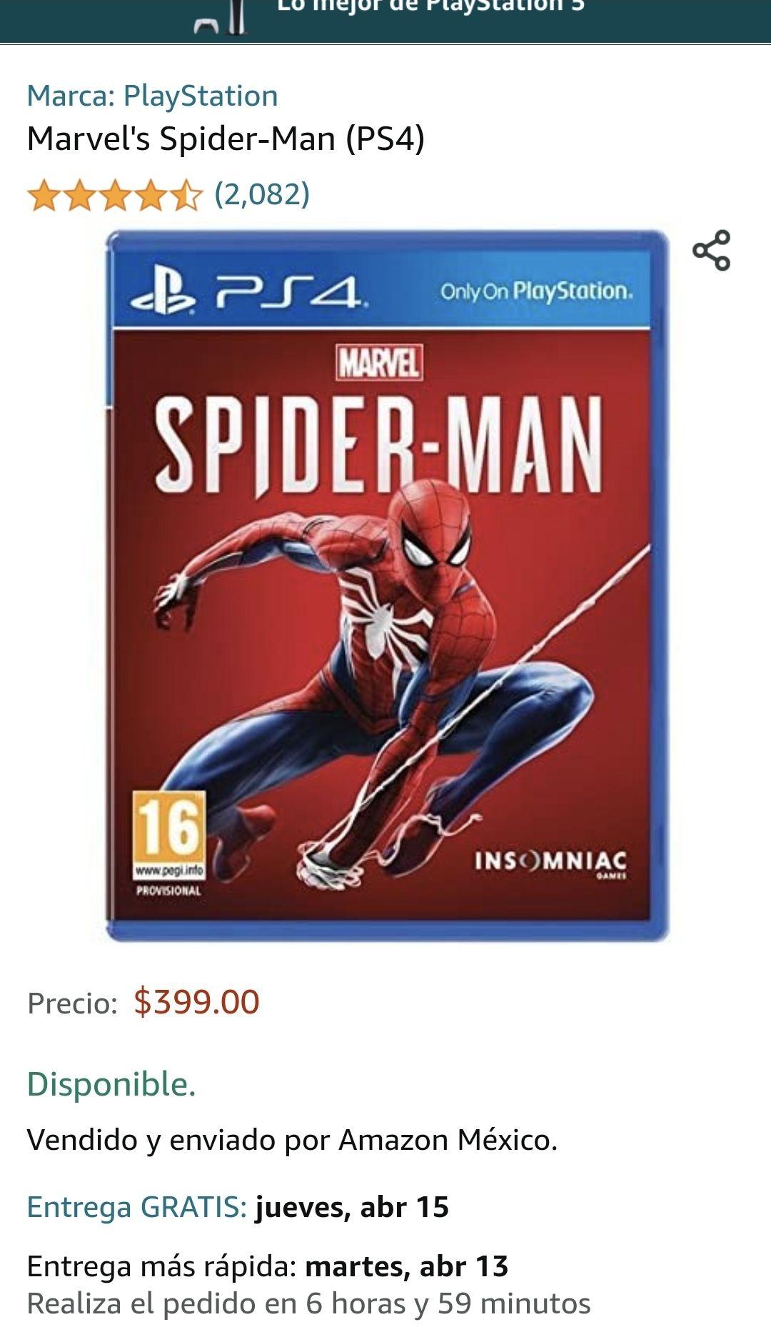 Amazon: Spiderman PS4