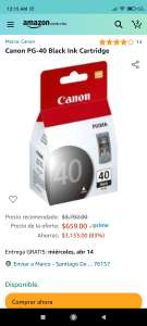 Amazon: Canon PG-40 Black Ink cartucho