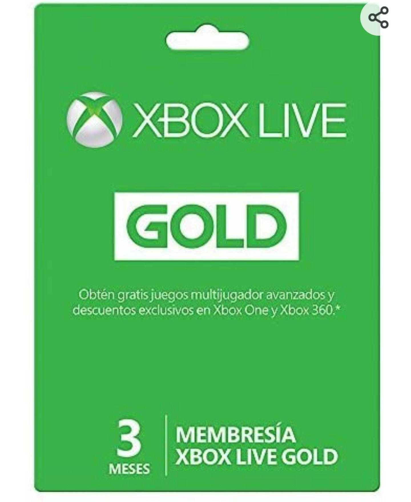 Amazon: Xbox Live Gold 3 meses