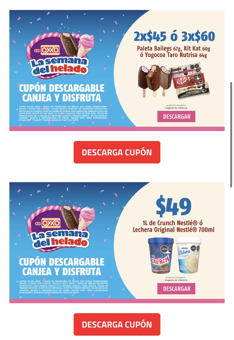 Oxxo: Semana del helado, cupones de descuento en helados