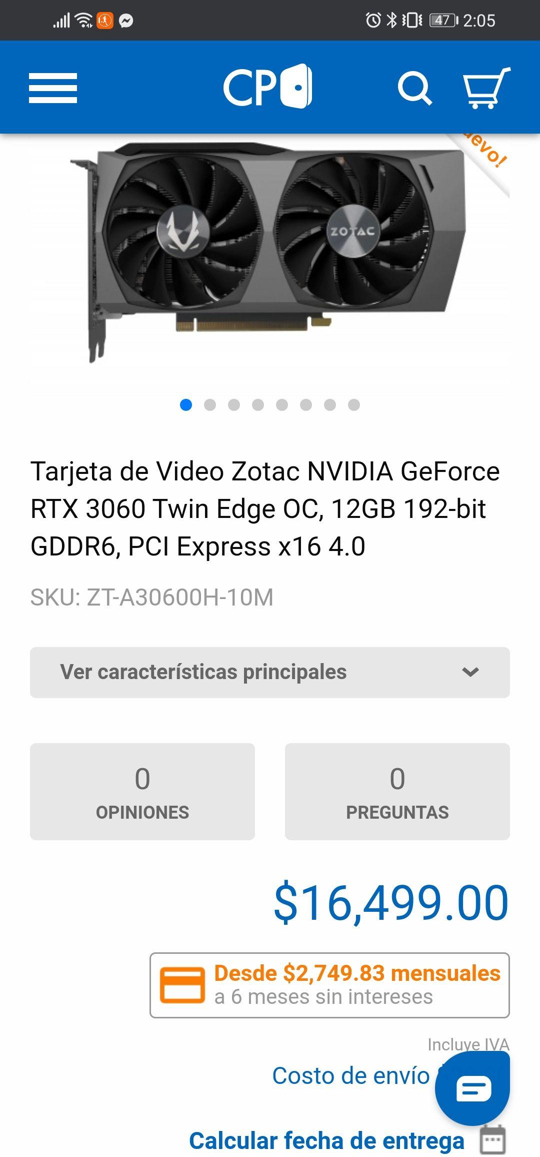 CyberPuerta: RTX 3060 a buen precio