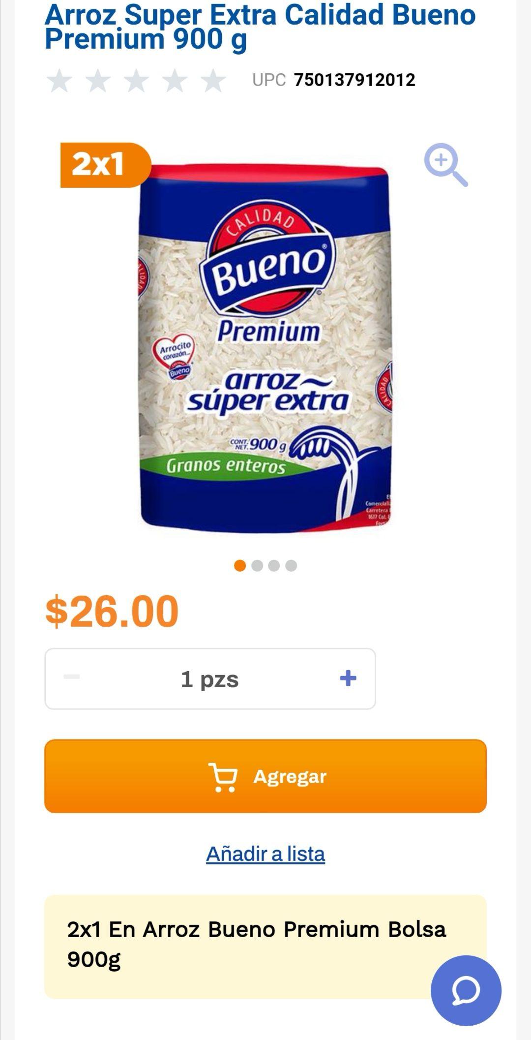 Chedraui: 2 x 1 en arroz Bueno Premium bolsa 900 g.