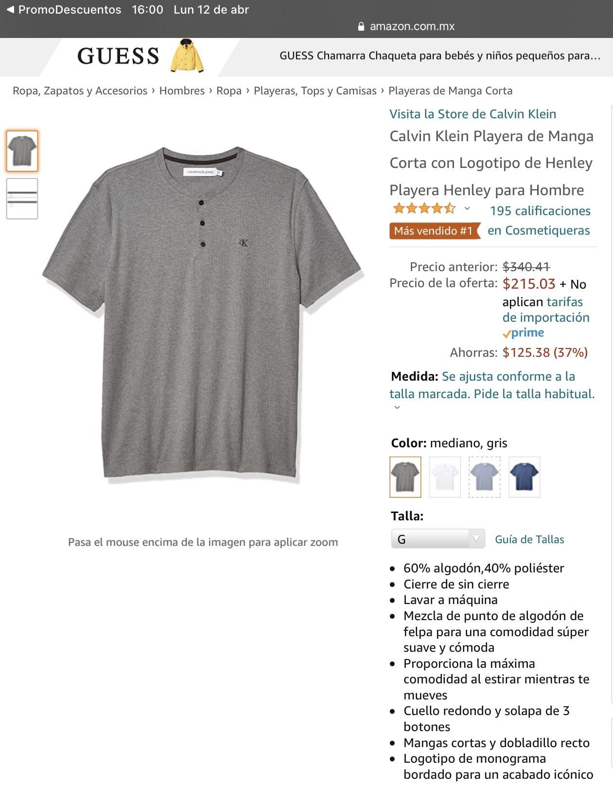 Amazon: Playera Calvin Klein Henley L. Aplica Prime.
