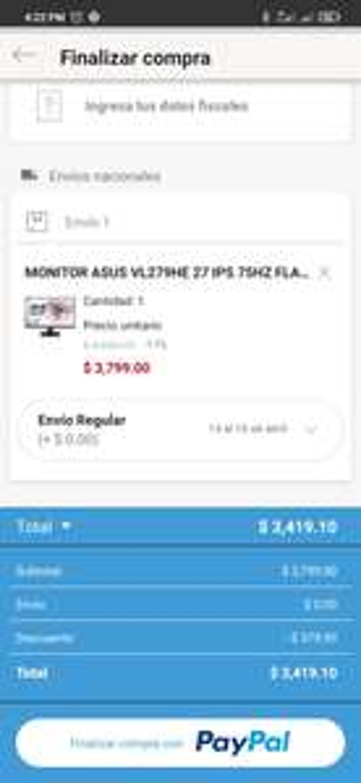 Linio: Monitor Asus 27 pulgadas (Pagando con PayPal)
