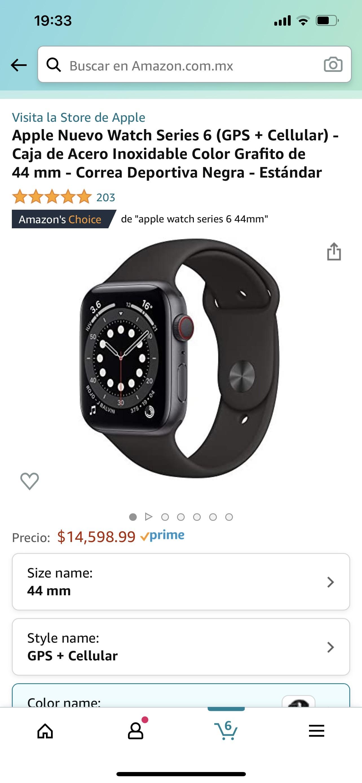 Amazon: Apple watch series 6 acero inoxidable 44 mm