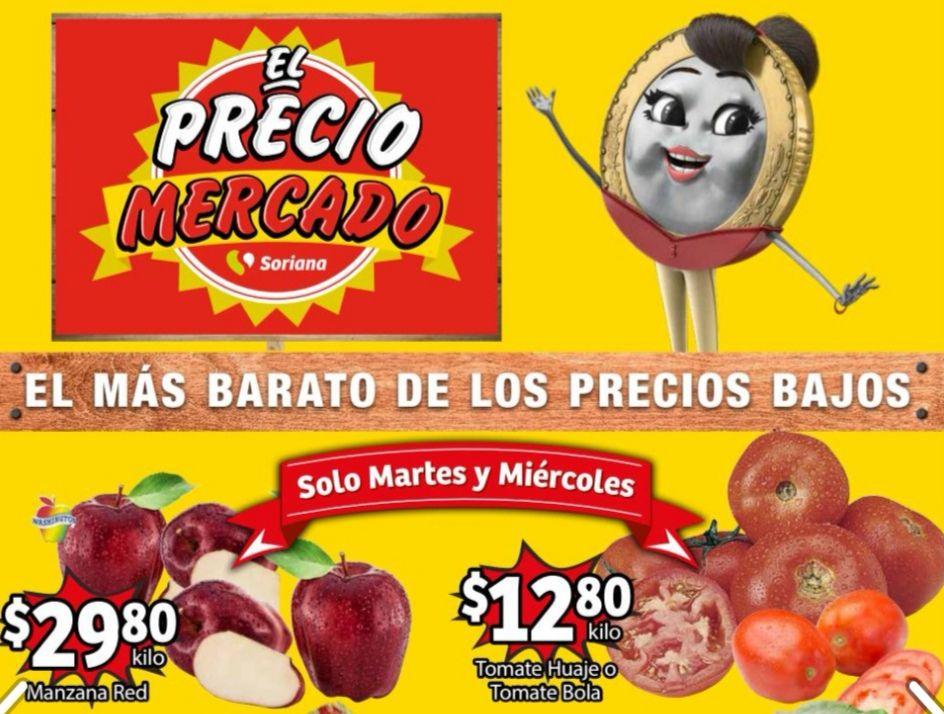 Soriana Mercado y Express: Frescura de Mercado 13 y 14 Abril: Jitomate Huaje ó Bola $12.80 kg... Manzana Red Delicious $29.80 kg.
