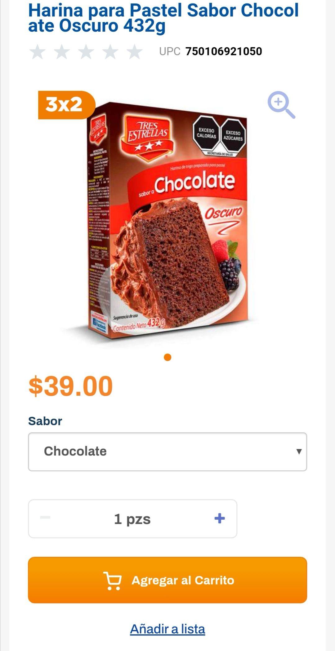 Chedraui: 3 x 2 en harinas para pastel Tres Estrellas chocolate ó vainilla 432 g. (3 x $78.00)
