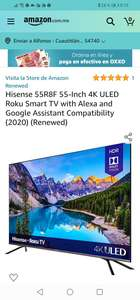 Amazon: Renewed Hisense 55R8F 55-Inch 4K ULED Roku Smart TV with Alexa and Google Assistant Compatibility