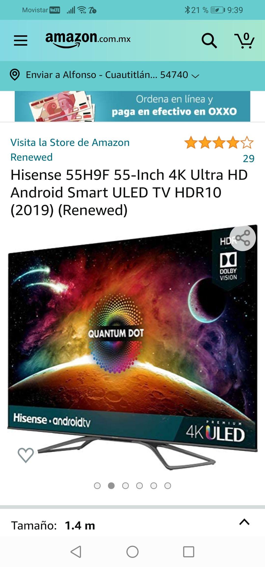 Amazon : Hisense 55H9F 55-Inch 4K Ultra HD Android Smart ULED TV HDR10 (2019) (Renewed)