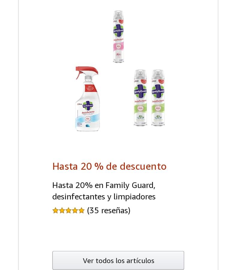 Amazon 20% de descuento en Desinfectantes y Limpiadores