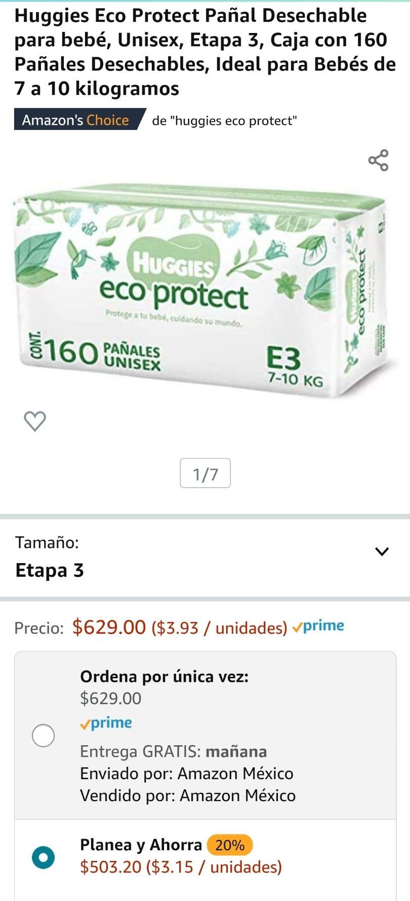 Amazon: Huggies Eco Protect Pañal para bebé, Etapa 3, Caja con 160 Pañales