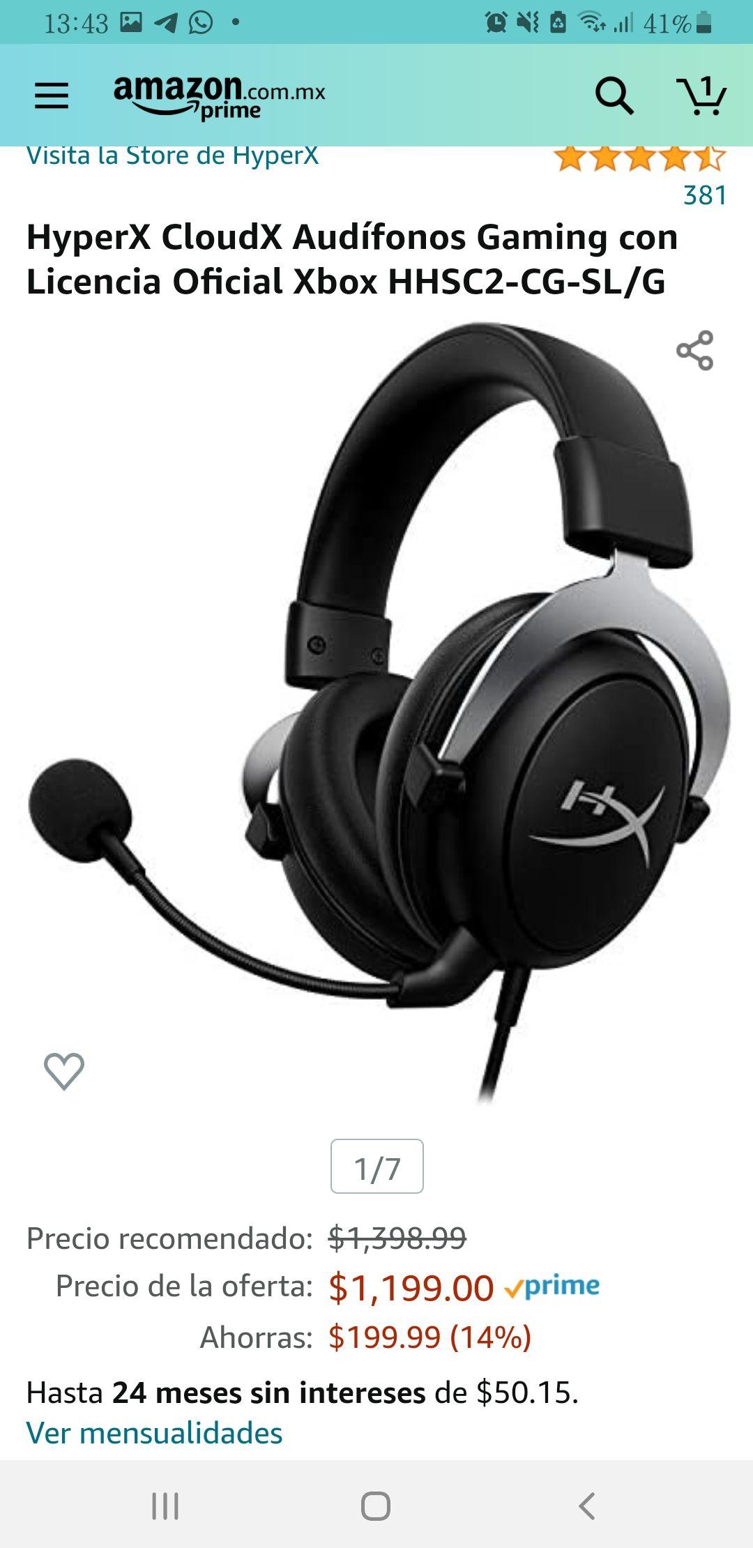 Amazon: HyperX CloudX Audífonos Gaming con Licencia Oficial Xbox HHSC2-CG-SL/G (Precio más barato según investigue en keepa.)