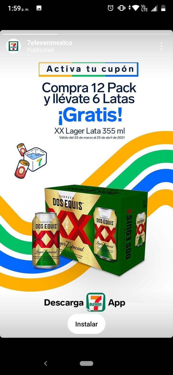 7 Eleven Compra 12 Pack y llévate 6 Latas gratis XX Lager Lata 355 ml