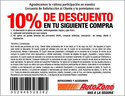 Autozone: 10% de descuento del 16 de marzo al 10 de mayo