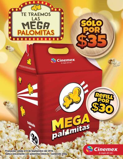 Cinemex: Mega Palomitas a $35 solo hoy 8 de septiembre