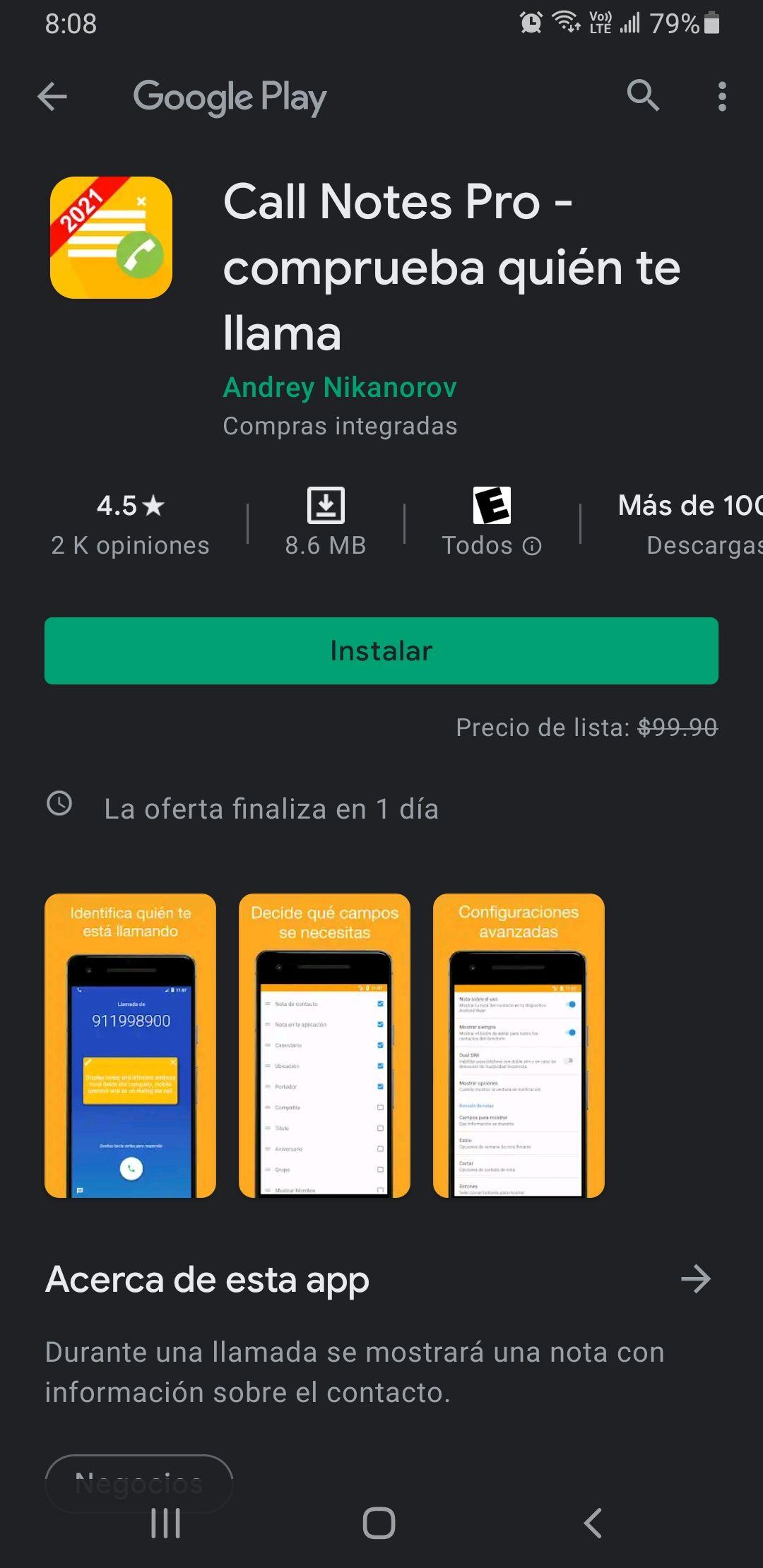 Google Play: Call Notes pro Comprueba quién te llama