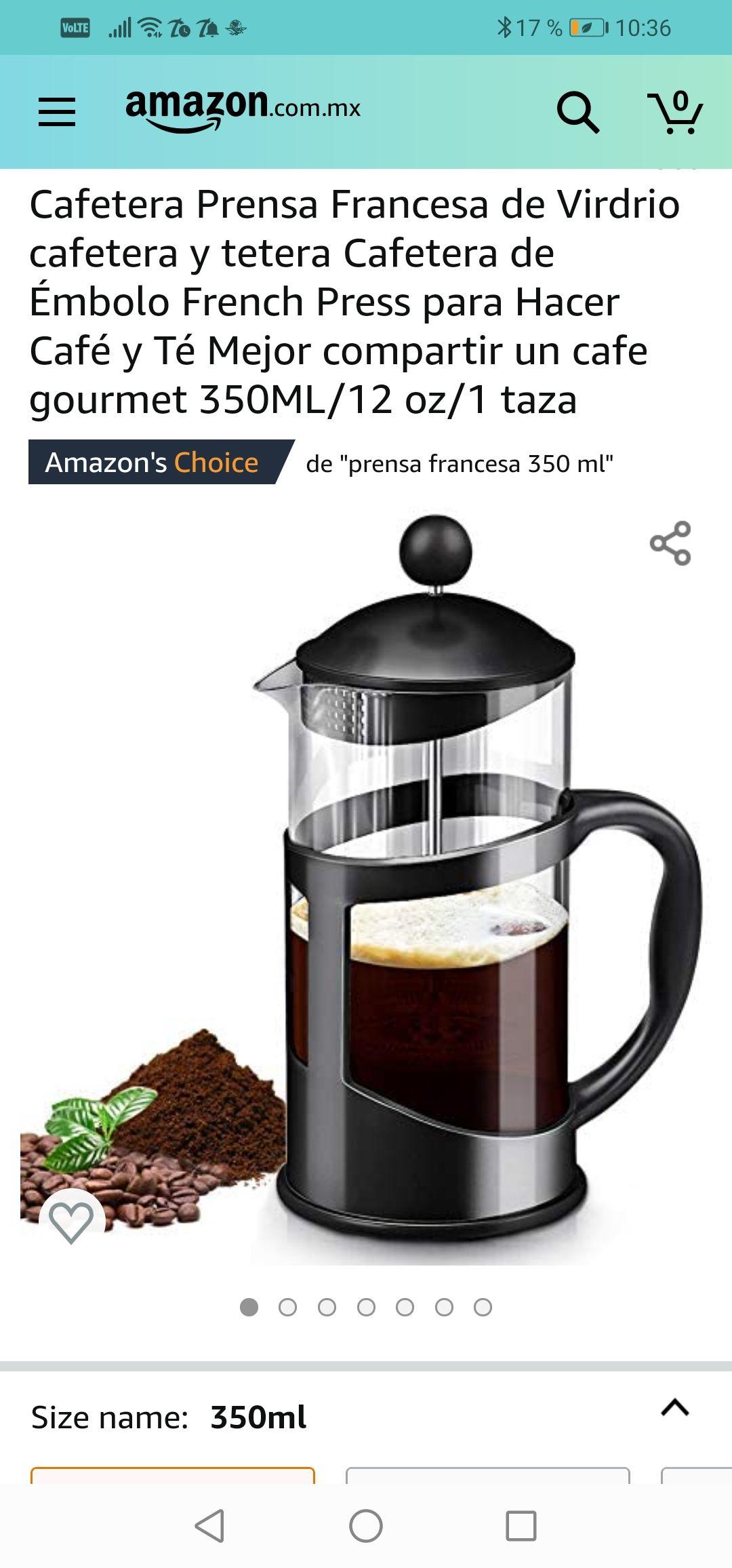 Amazon: Cafetera Prensa Francesa de Virdrio cafetera y tetera Cafetera de Émbolo 350 ml