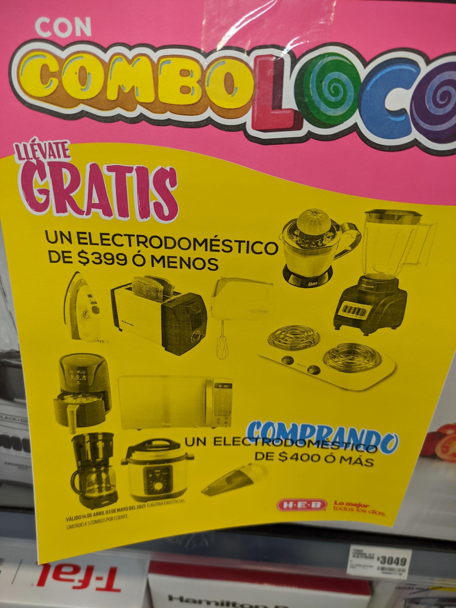 HEB: Electrodoméstico $399 o menos gratis