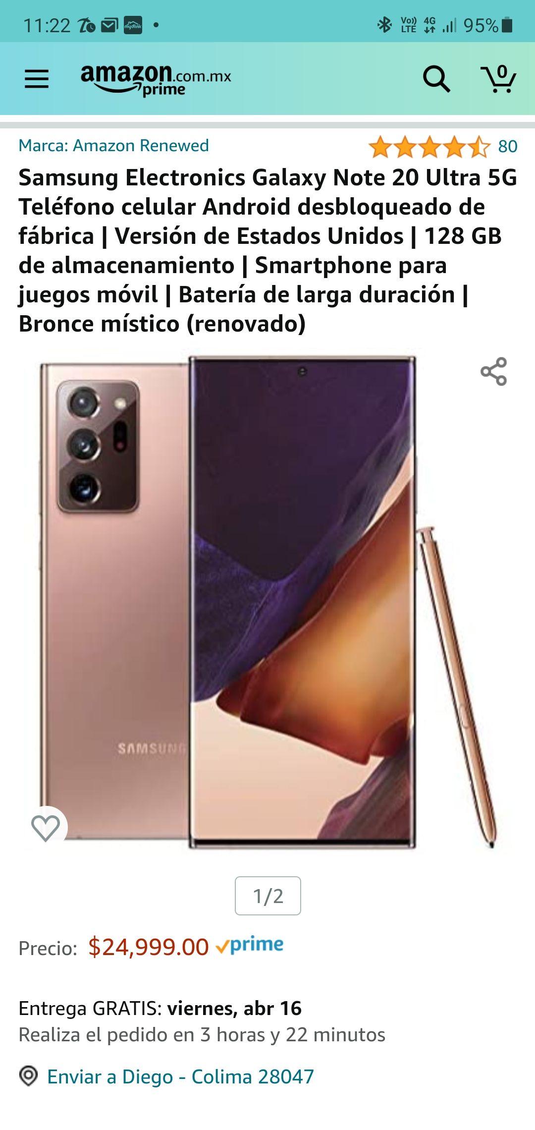Amazon: Samsung note 20 ultra Cupon 20%
