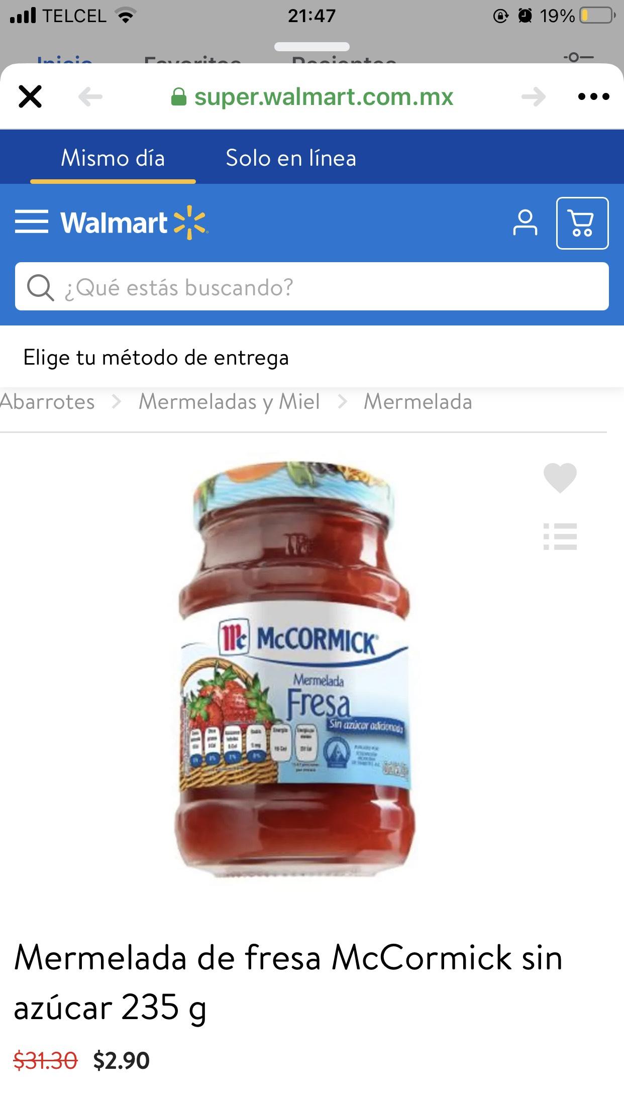 Walmart: Mermelada de fresa McCormick sin azúcar 235 g por solo $ 2.9
