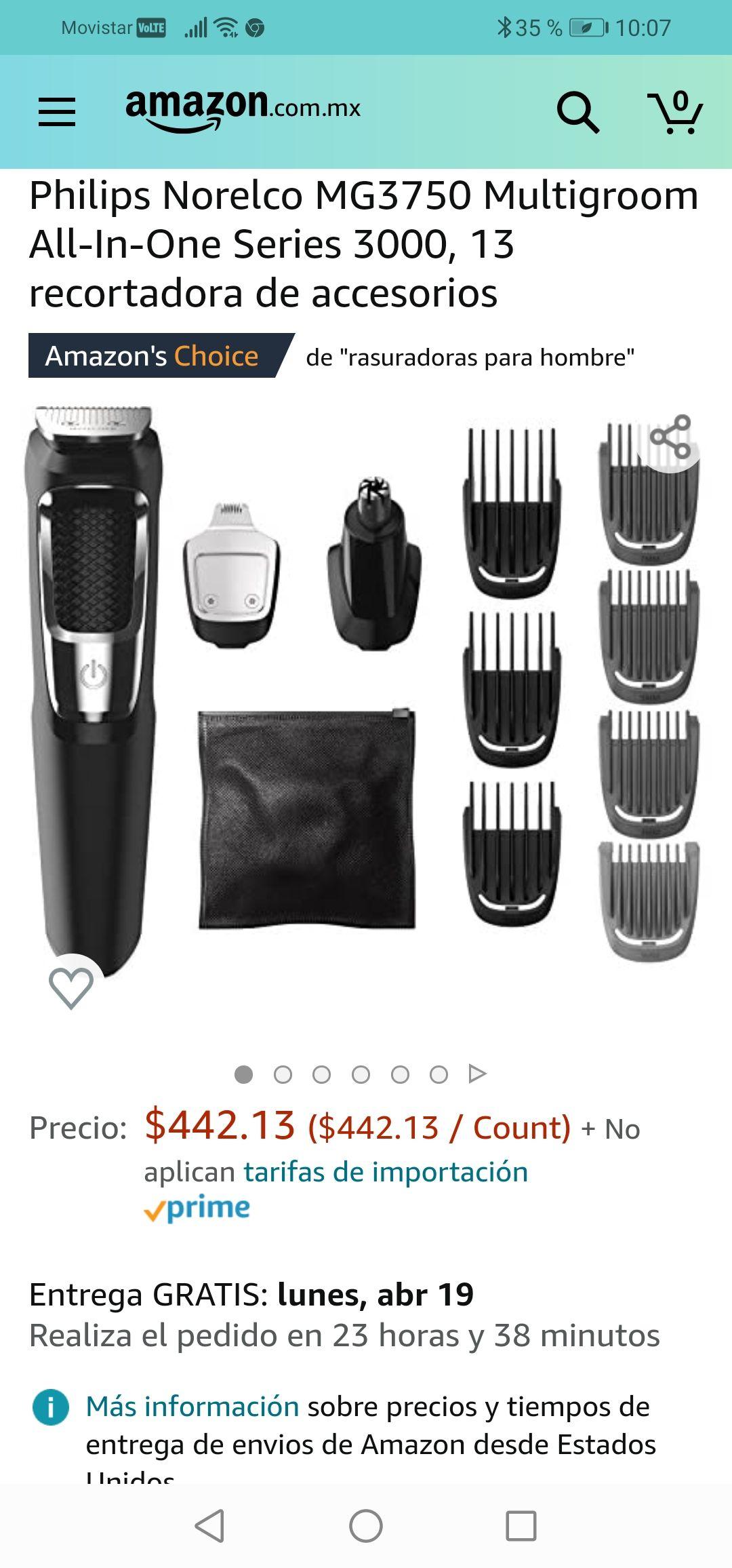Amazon: Philips Norelco MG3750 Multigroom All-In-One Series 3000, 13 recortadora de accesorios