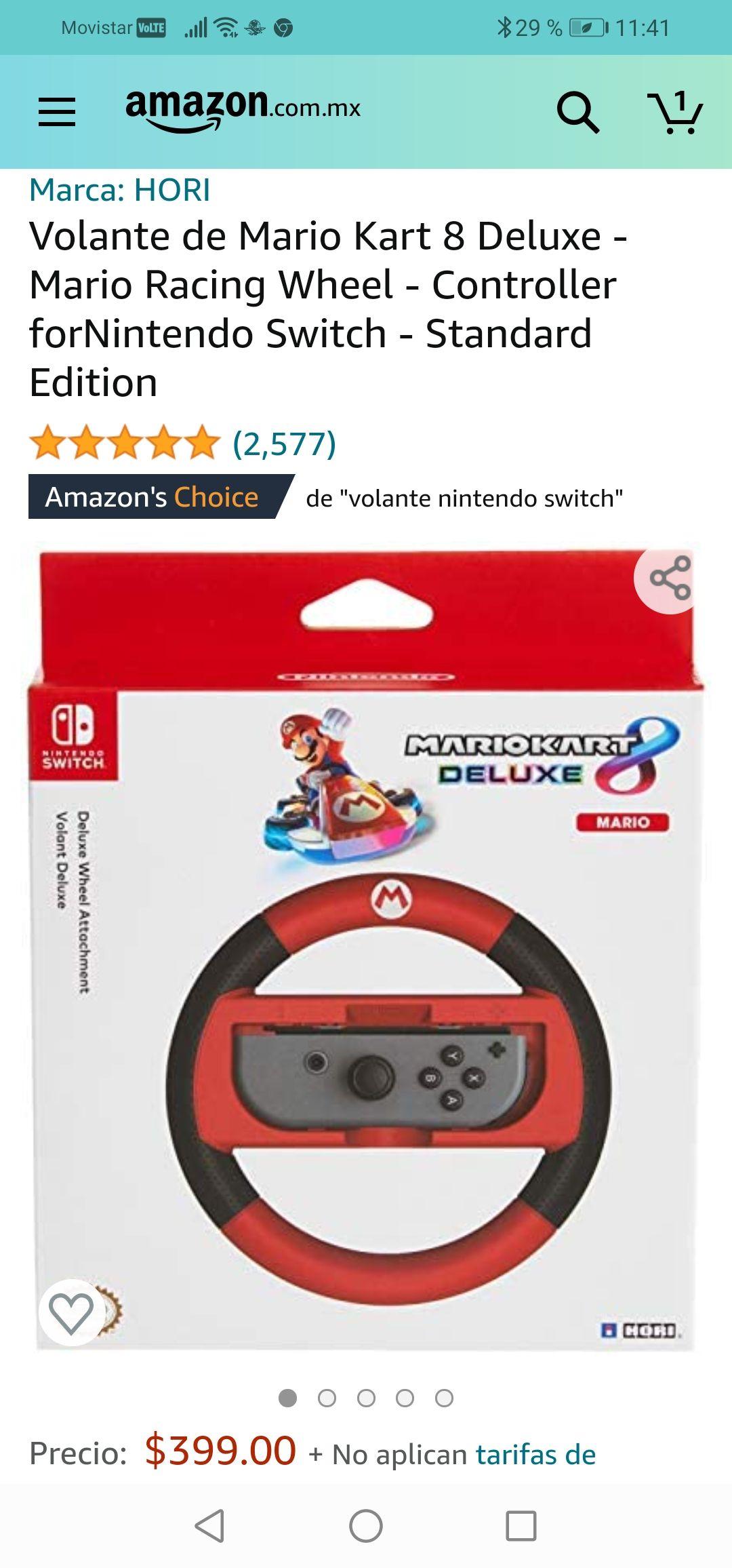 Amazon: Volante de Mario Kart 8 Deluxe - Mario Racing Wheel - Controller forNintendo Switch - Standard Edition