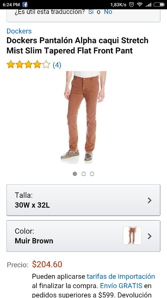 Amazon: pantalón dockers talla 30x32 a $204